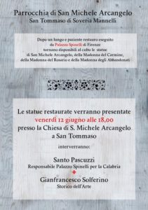 Programma statue restaurate San Tommaso