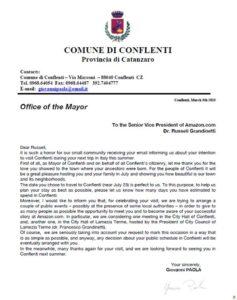 Lettera sindaco Conflenti per Russell Grandinetti