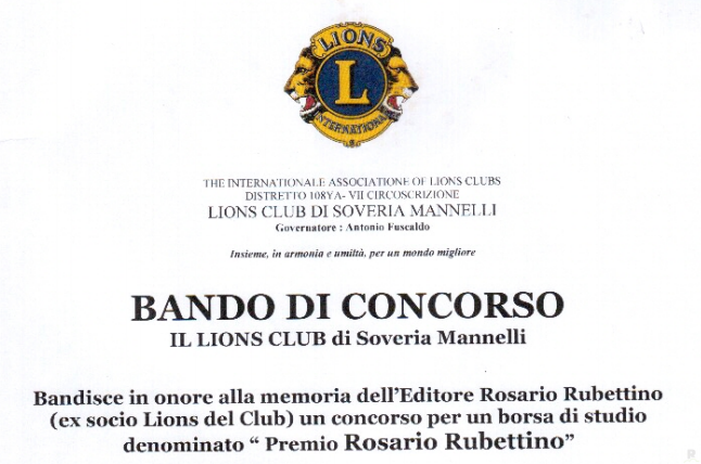 Lions Club bando concorso Rosario Rubettino