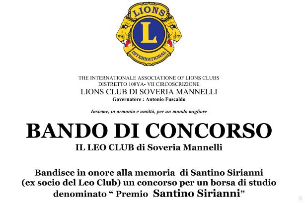 Lions Club bando concorso Santino Sirianni