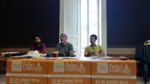 Conferenza Stampa Felici e Conflenti terza edizione da sinistra Alessio Bressi, Ettore Castagna Christian Ferlaino